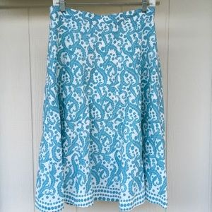 8 Beautiful Lined Blue Filigree BODEN Midi Skirt